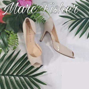 Marc Fisher Beige D'orsay Peeptoe Heels Size 8